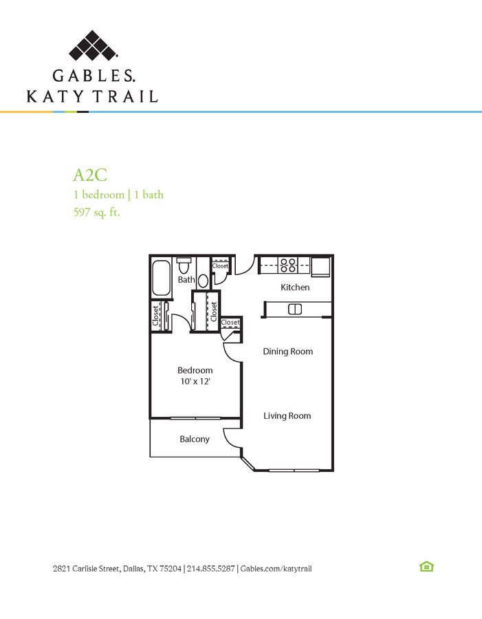 1 Bedroom 1 Bathroom Apartment for rent at Gables Katy Trail in Dallas, TX