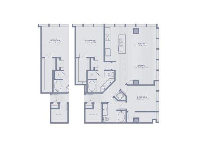2 Bedrooms 2 Bathrooms Apartment for rent at Gables Republic Tower in Dallas, TX