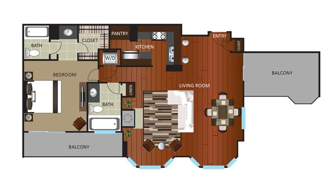 1 Bedroom 2 Bathrooms Apartment for rent at Gables Uptown Tower in Dallas, TX