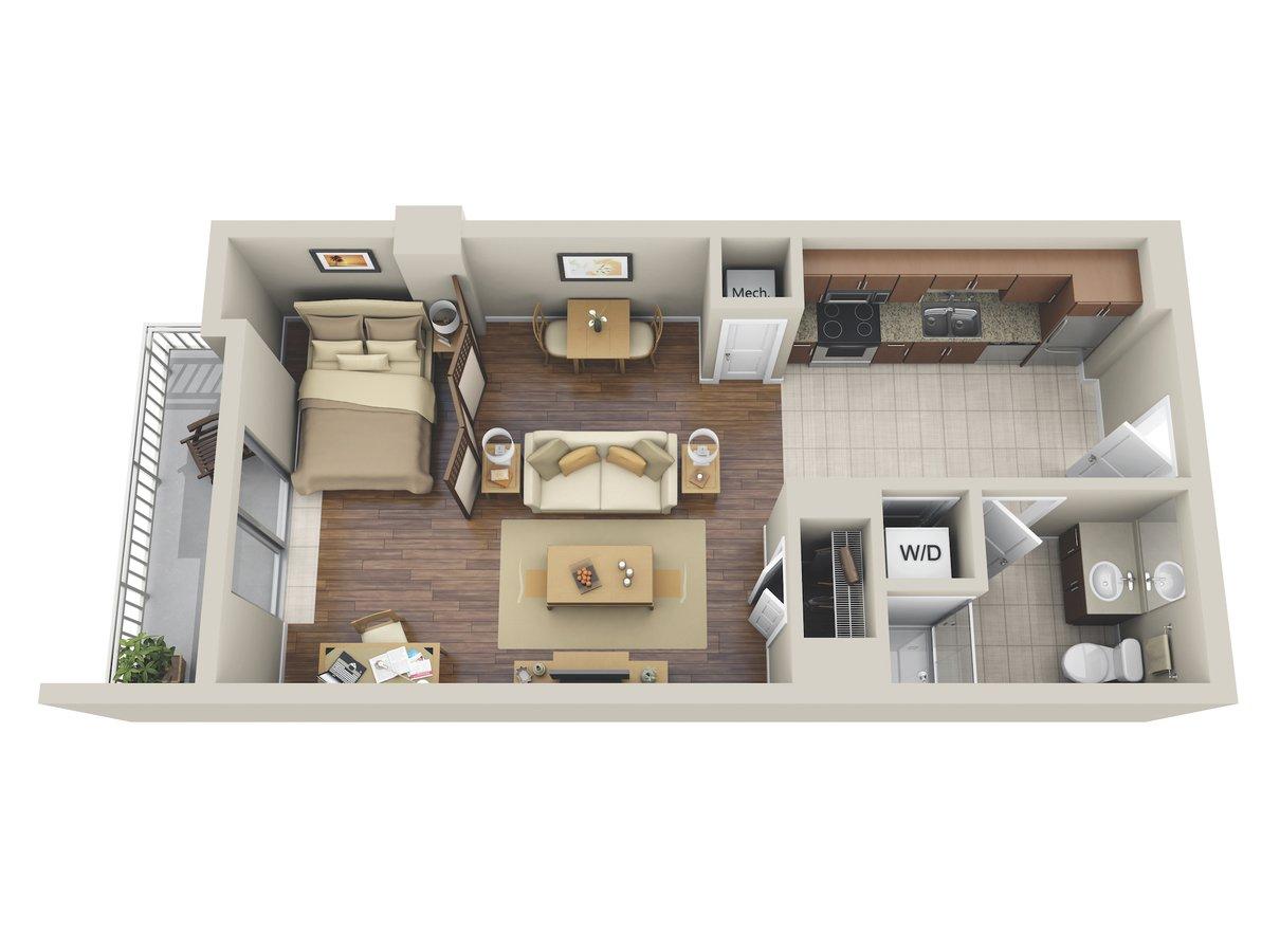 Studio 1 Bathroom Apartment for rent at M5250 in Houston, TX