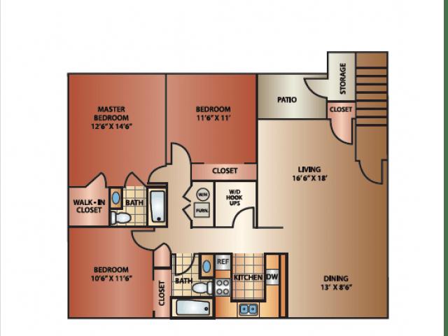 3 Bedrooms 2 Bathrooms Apartment for rent at Cedar Breaks in Taylorsville, UT