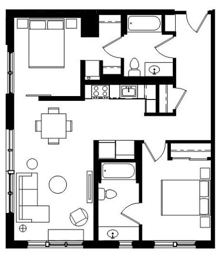 2 Bedrooms 2 Bathrooms Apartment for rent at The Elwood Building in Portland, OR