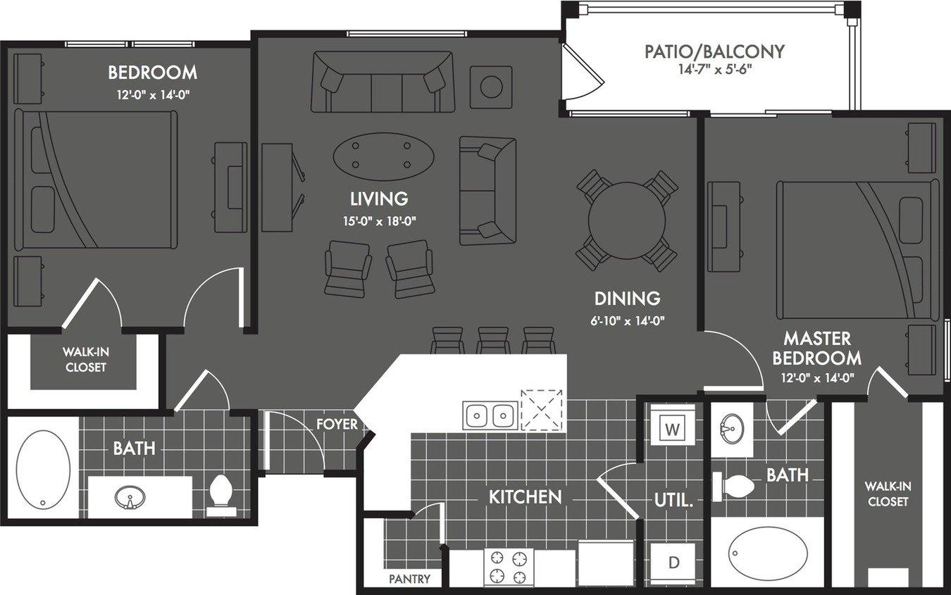 2 Bedrooms 2 Bathrooms Apartment for rent at The Estates At Briggs Ranch in San Antonio, TX