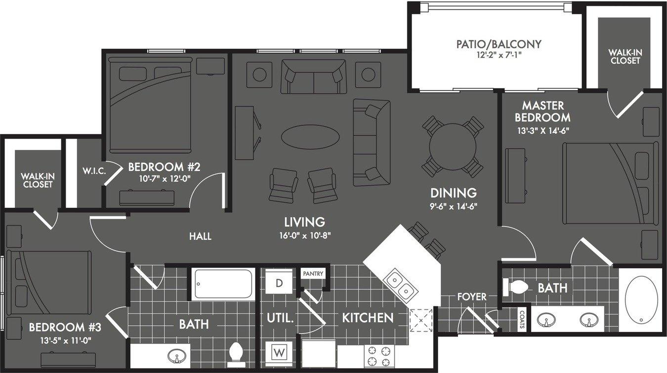 3 Bedrooms 2 Bathrooms Apartment for rent at The Estates At Briggs Ranch in San Antonio, TX