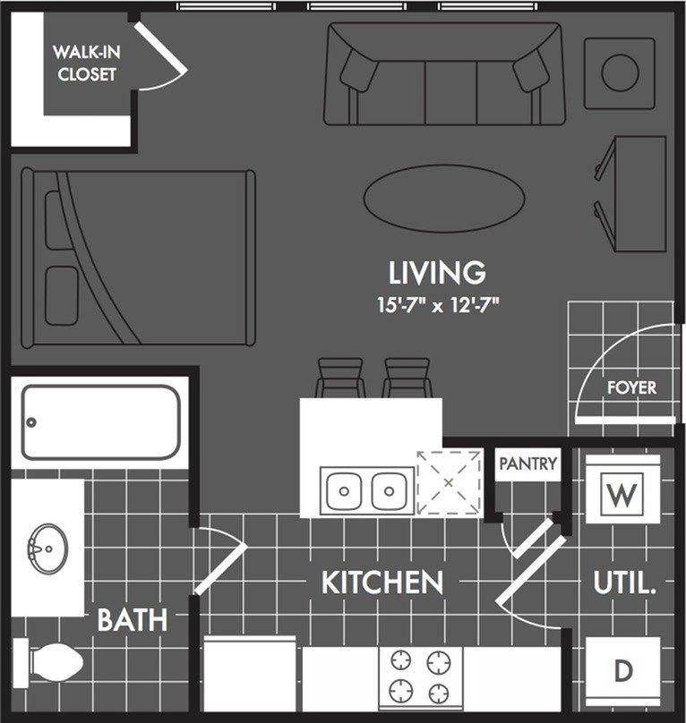 Studio 1 Bathroom Apartment for rent at The Estates At Briggs Ranch in San Antonio, TX
