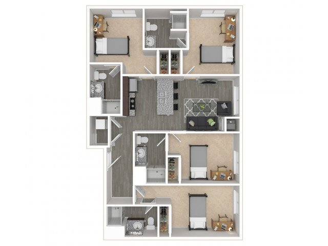 4 Bedrooms 4+ Bathrooms Apartment for rent at District Flats in Columbia, MO