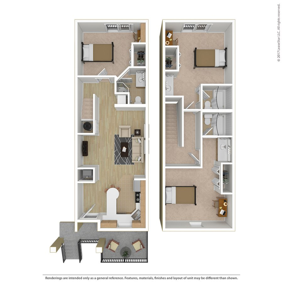 3 Bedrooms 3 Bathrooms Apartment for rent at Campus Court At Red Mile in Lexington, KY