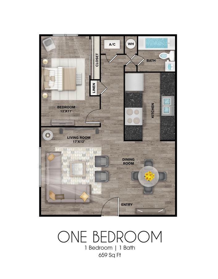 1 Bedroom 1 Bathroom Apartment for rent at Presidio Flats in San Antonio, TX