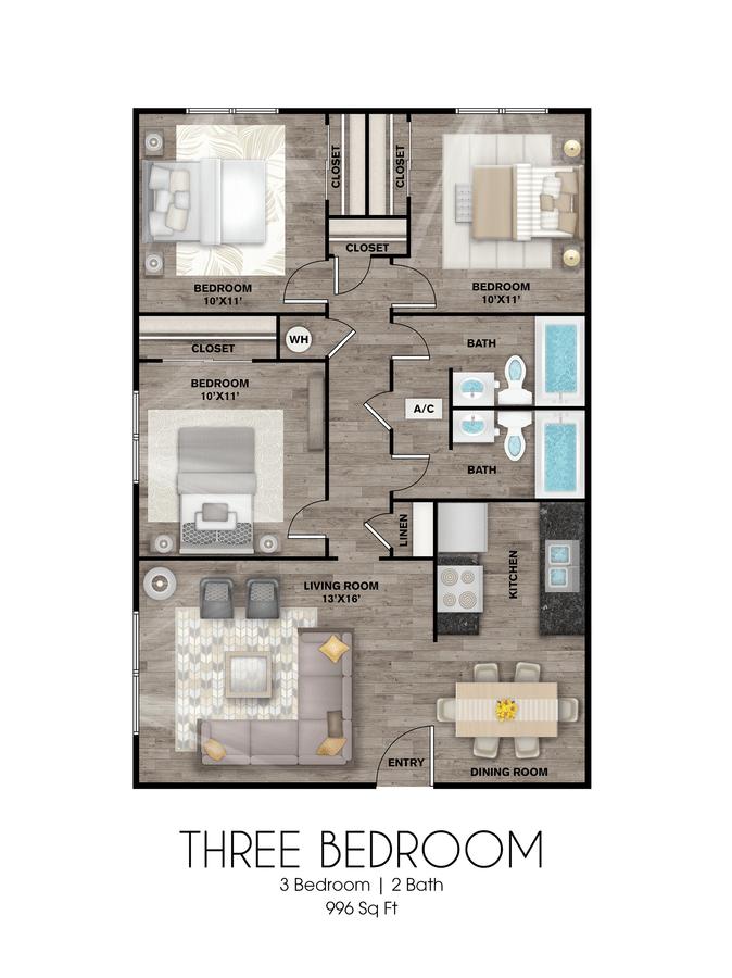 3 Bedrooms 2 Bathrooms Apartment for rent at Presidio Flats in San Antonio, TX
