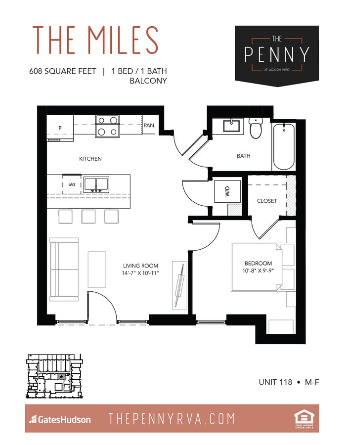1 Bedroom 1 Bathroom Apartment for rent at The Penny At Jackson Ward in Richmond, VA