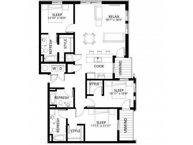 3 Bedrooms 3 Bathrooms Apartment for rent at Cityville On 9th in Des Moines, IA