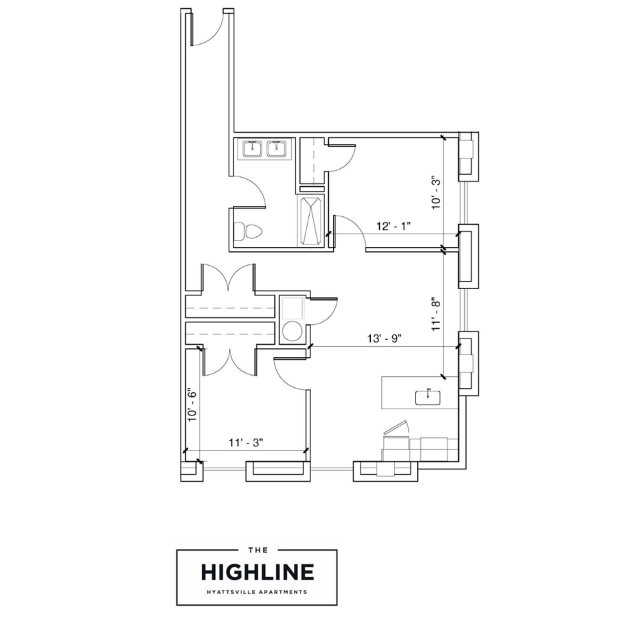 2 Bedrooms 1 Bathroom Apartment for rent at The Highline in Hyattsville, MD