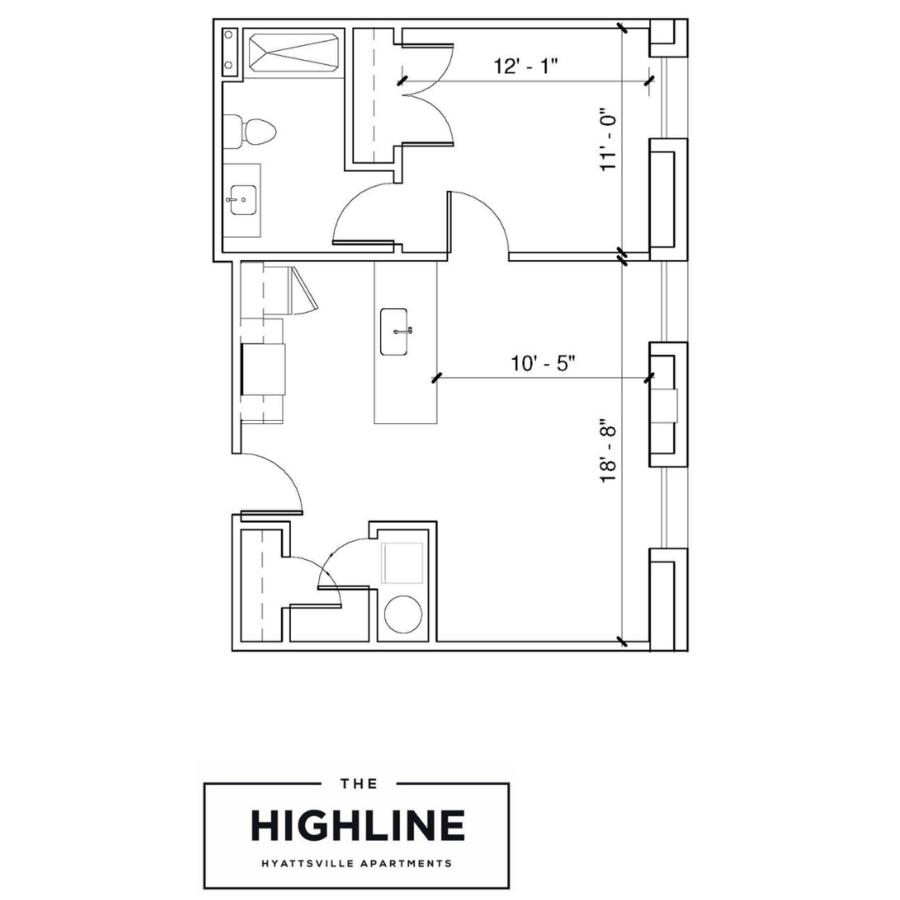 1 Bedroom 1 Bathroom Apartment for rent at The Highline in Hyattsville, MD