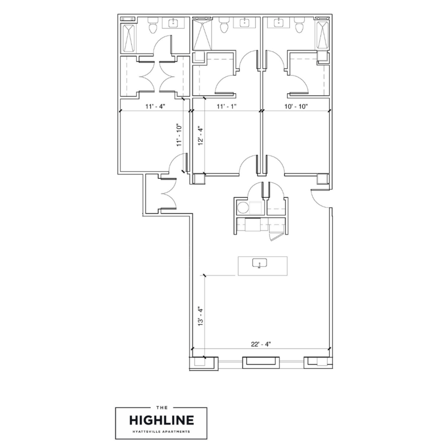 3 Bedrooms 3 Bathrooms Apartment for rent at The Highline in Hyattsville, MD
