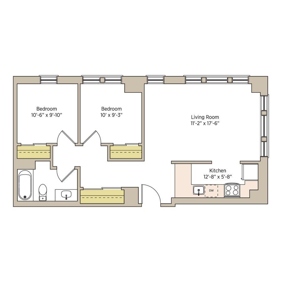 2 Bedrooms 1 Bathroom Apartment for rent at The Del Prado in Chicago, IL