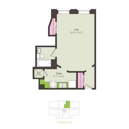 Studio 1 Bathroom Apartment for rent at Brownhardt in Kansas City, MO