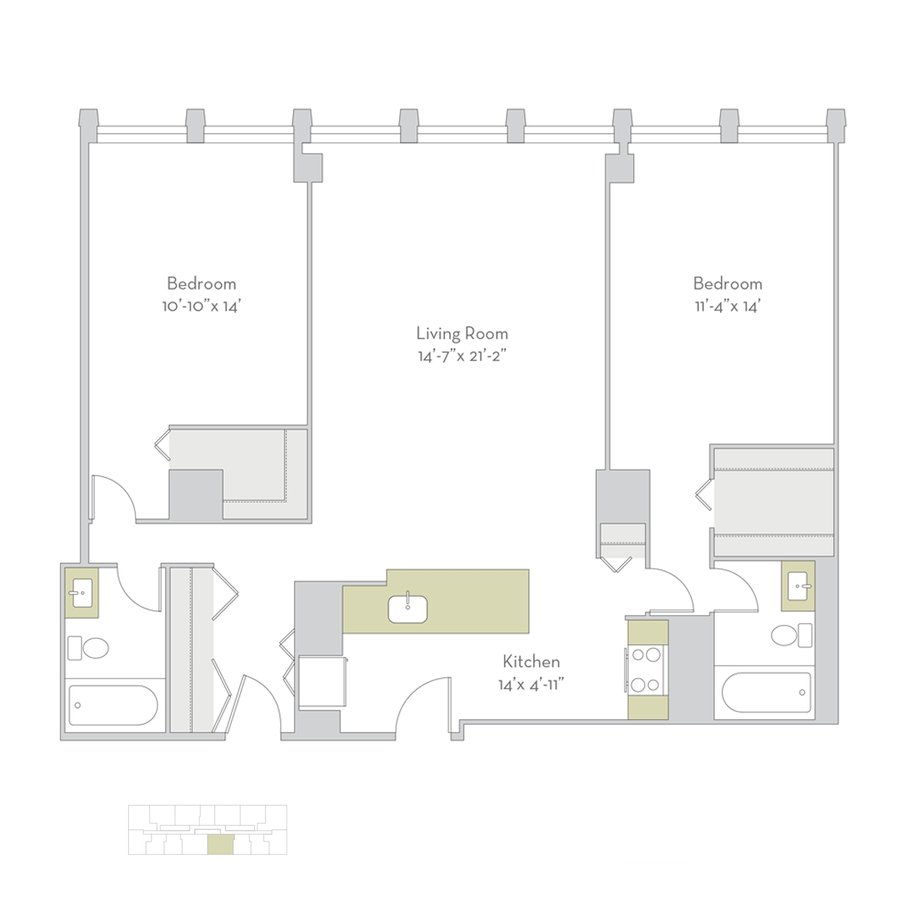 2 Bedrooms 2 Bathrooms Apartment for rent at Regents Park in Chicago, IL