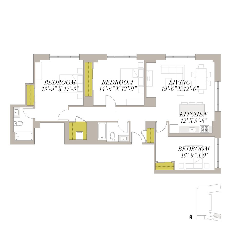 3 Bedrooms 2 Bathrooms Apartment for rent at Shoreland in Chicago, IL