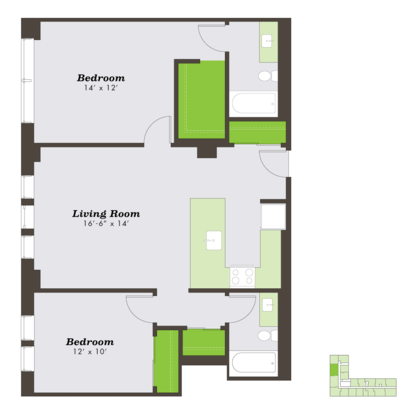 2 Bedrooms 1 Bathroom Apartment for rent at The Sutherland in Chicago, IL
