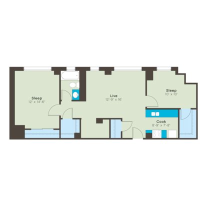 1 Bedroom 2 Bathrooms Apartment for rent at Bellerive in Kansas City, MO