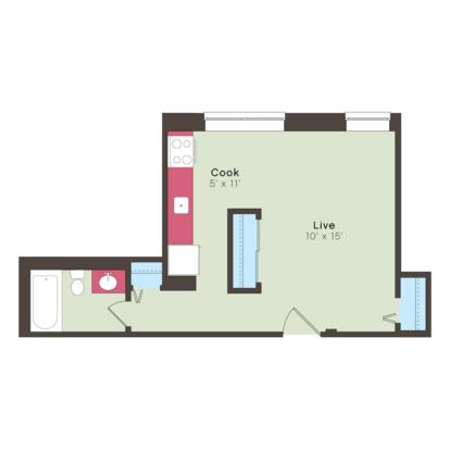 Studio 1 Bathroom Apartment for rent at Ricardo in Kansas City, MO