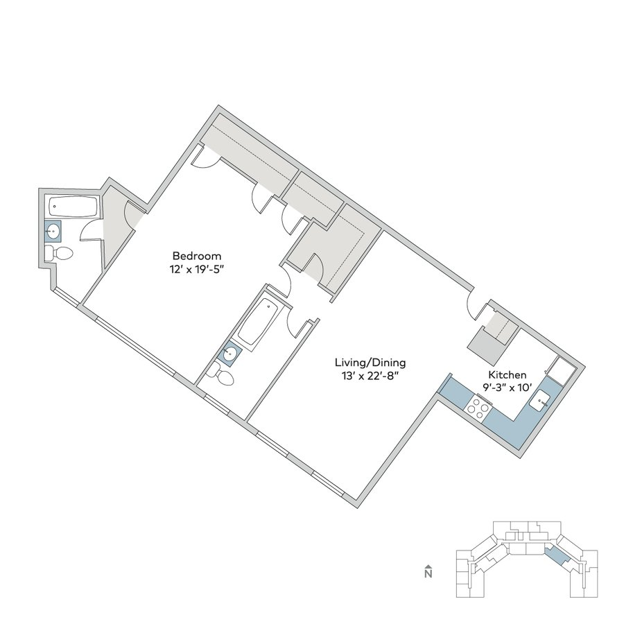 1 Bedroom 2 Bathrooms Apartment for rent at Windermere House in Chicago, IL