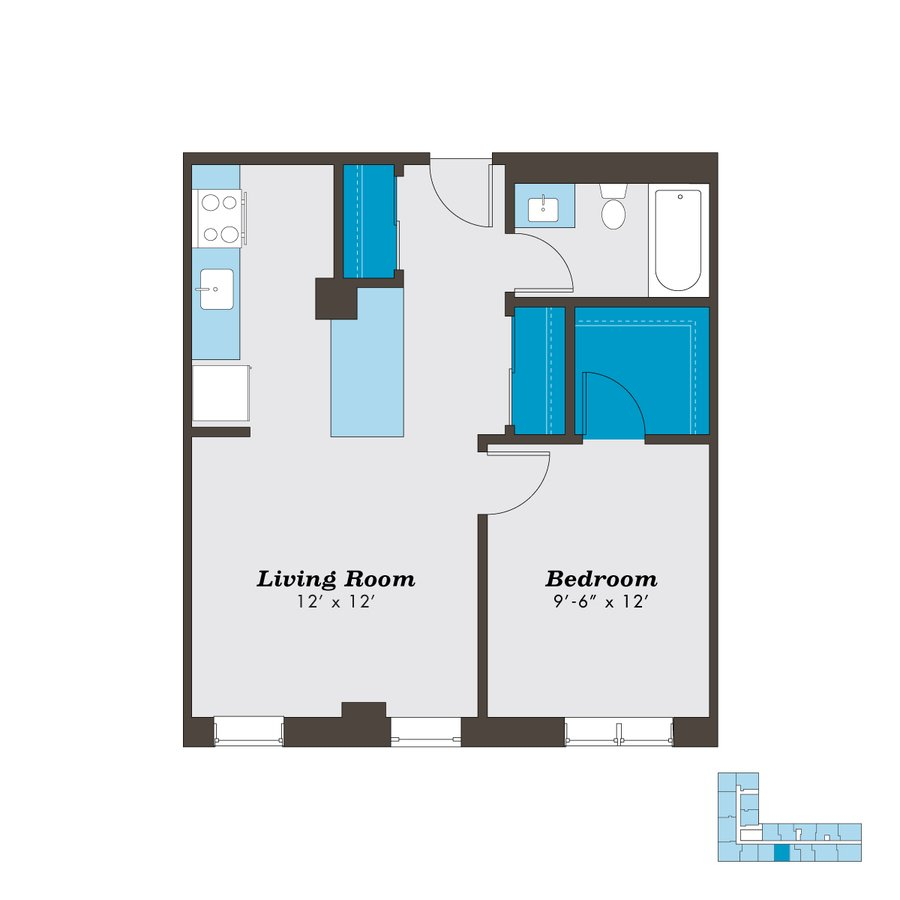 1 Bedroom 1 Bathroom Apartment for rent at The Sutherland in Chicago, IL