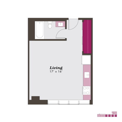 Studio 1 Bathroom Apartment for rent at The Sutherland in Chicago, IL