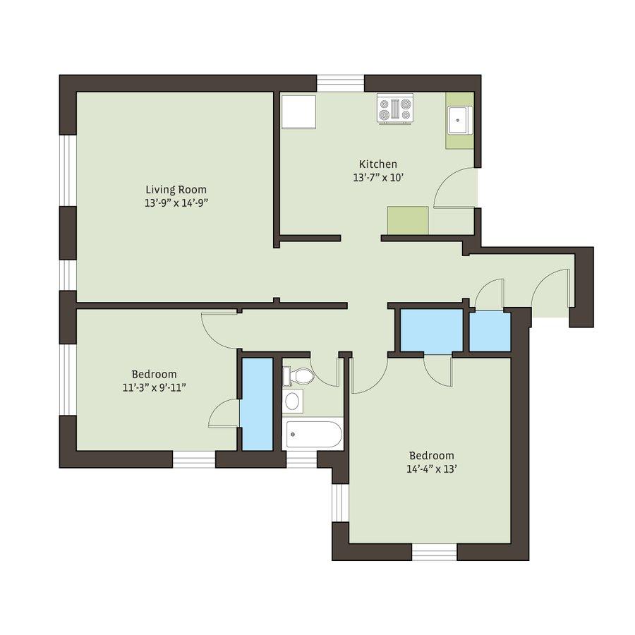 2 Bedrooms 1 Bathroom Apartment for rent at 4721 S. Ellis Avenue in Chicago, IL