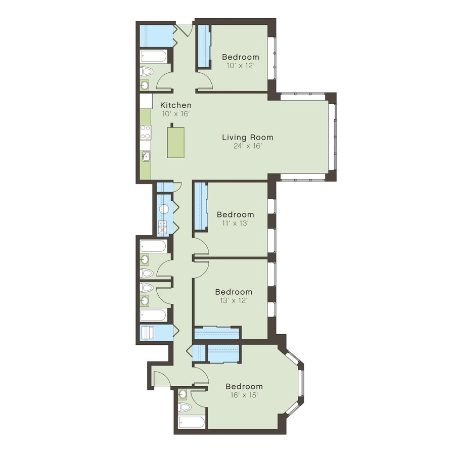 4 Bedrooms 4+ Bathrooms Apartment for rent at 5100 S. Ellis Avenue in Chicago, IL