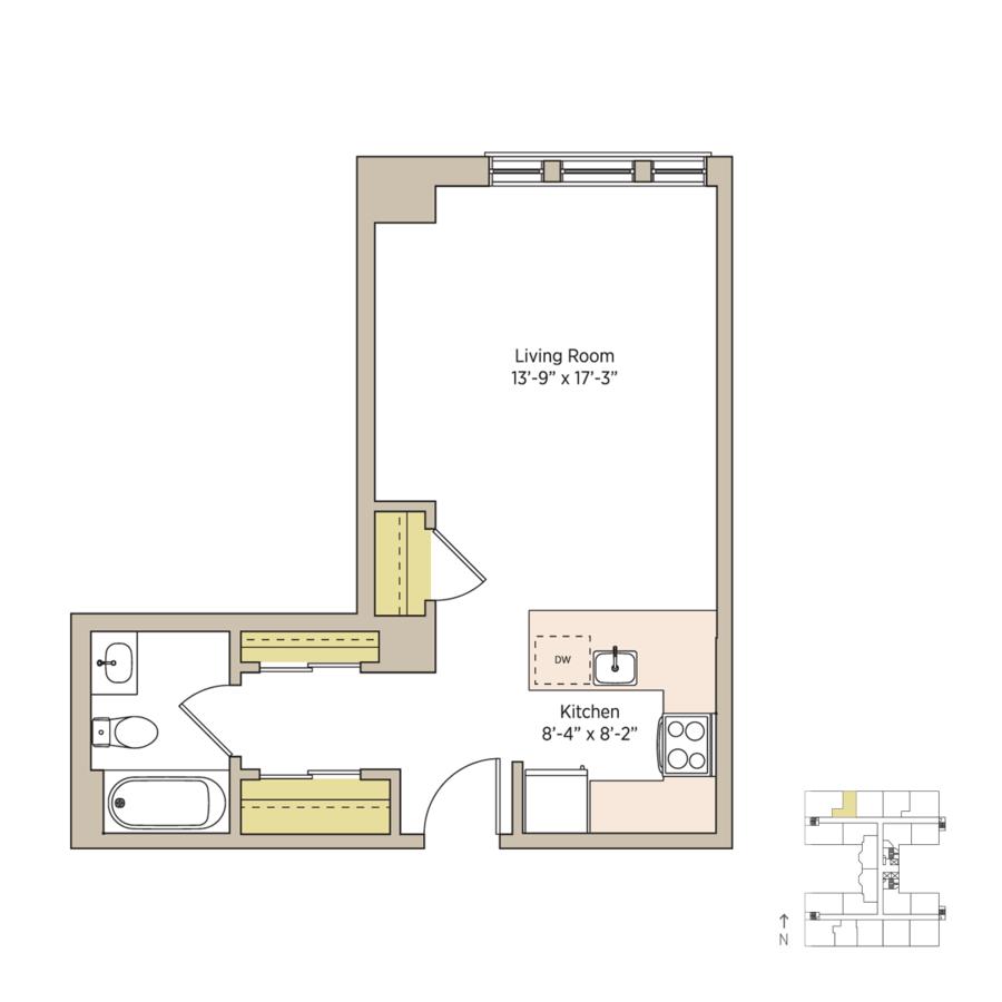 Studio 1 Bathroom Apartment for rent at The Del Prado in Chicago, IL
