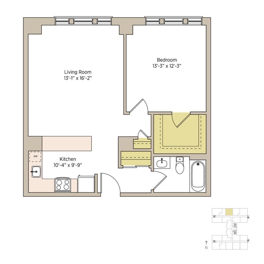 1 Bedroom 1 Bathroom Apartment for rent at The Del Prado in Chicago, IL
