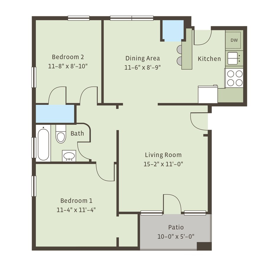 2 Bedrooms 1 Bathroom Apartment for rent at Raleigh Arms in Kansas City, MO