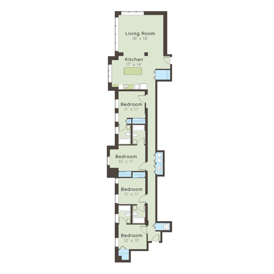 4 Bedrooms 3 Bathrooms Apartment for rent at 5100 S. Ellis Avenue in Chicago, IL