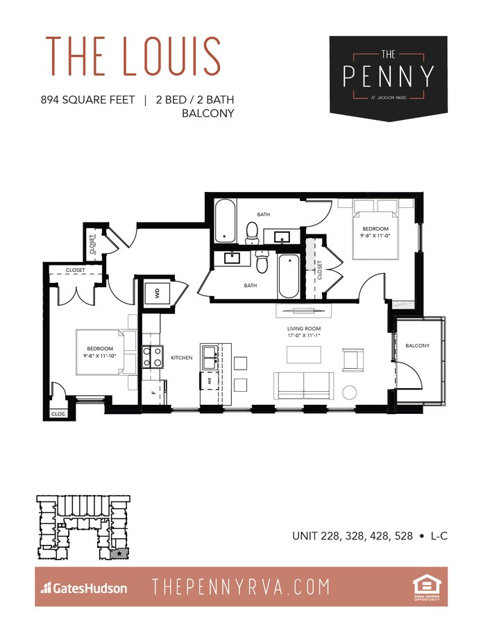 2 Bedrooms 2 Bathrooms Apartment for rent at The Penny At Jackson Ward in Richmond, VA