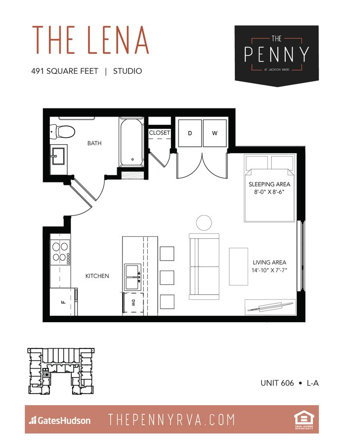 Studio 1 Bathroom Apartment for rent at The Penny At Jackson Ward in Richmond, VA