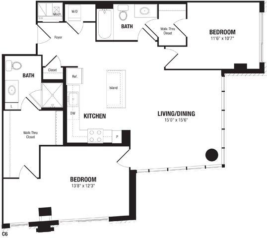 2 Bedrooms 2 Bathrooms Apartment for rent at Crystal Flats in Arlington, VA