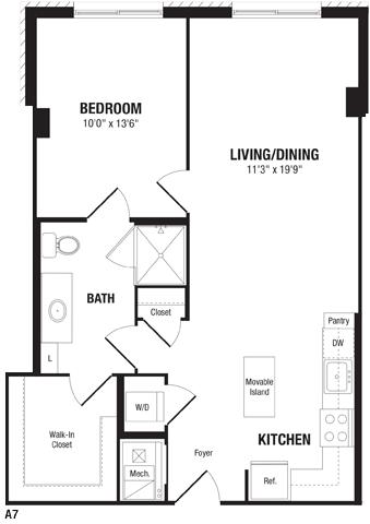 1 Bedroom 1 Bathroom Apartment for rent at Crystal Flats in Arlington, VA