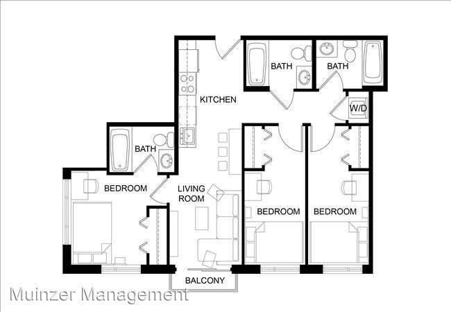 3 Bedrooms 3 Bathrooms Apartment for rent at 300 W. State Street in West Lafayette, IN