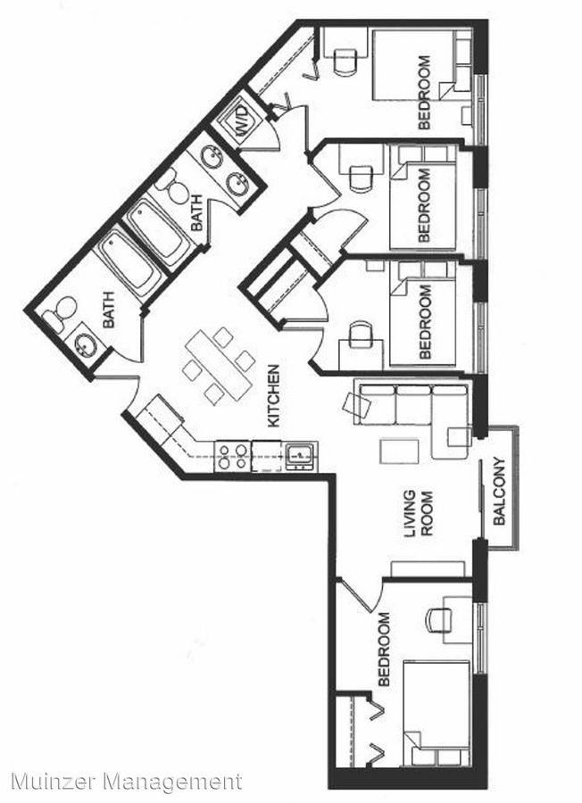 4 Bedrooms 2 Bathrooms Apartment for rent at 300 W. State Street in West Lafayette, IN
