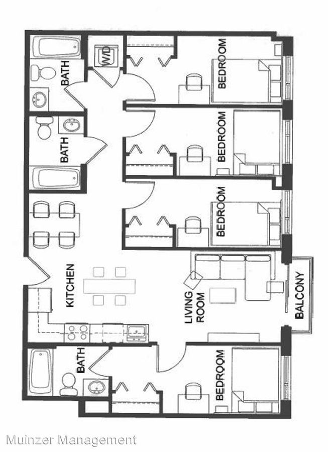 4 Bedrooms 3 Bathrooms Apartment for rent at 300 W. State Street in West Lafayette, IN