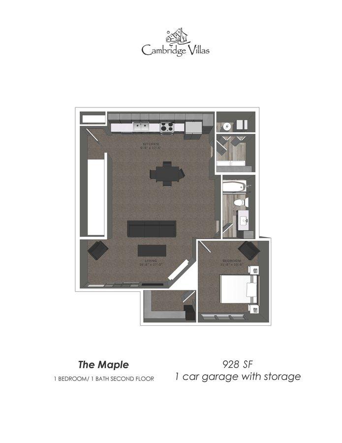 1 Bedroom 1 Bathroom Apartment for rent at Cambridge Villas in Omaha, NE