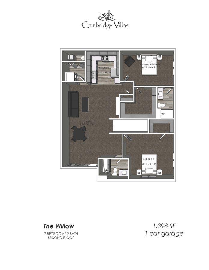 2 Bedrooms 2 Bathrooms Apartment for rent at Cambridge Villas in Omaha, NE