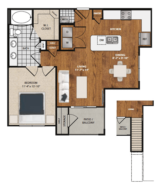 1 Bedroom 1 Bathroom Apartment for rent at 8085 At Traditions in Bryan, TX