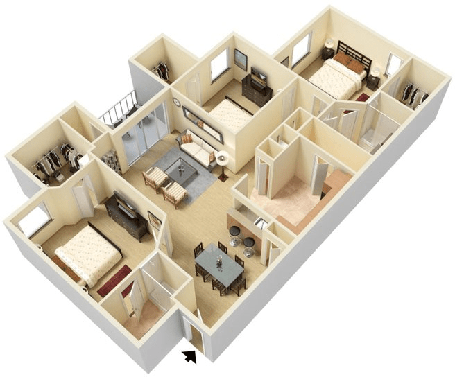 3 Bedrooms 2 Bathrooms Apartment for rent at Legacy At Fort Clarke in Gainesville, FL