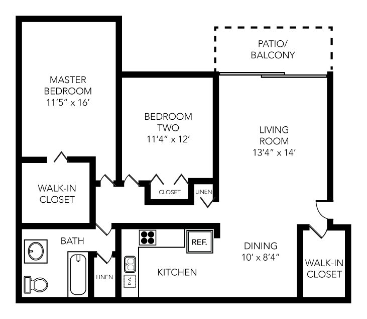 2 Bedrooms 1 Bathroom Apartment for rent at Traver Crossing in Ann Arbor, MI