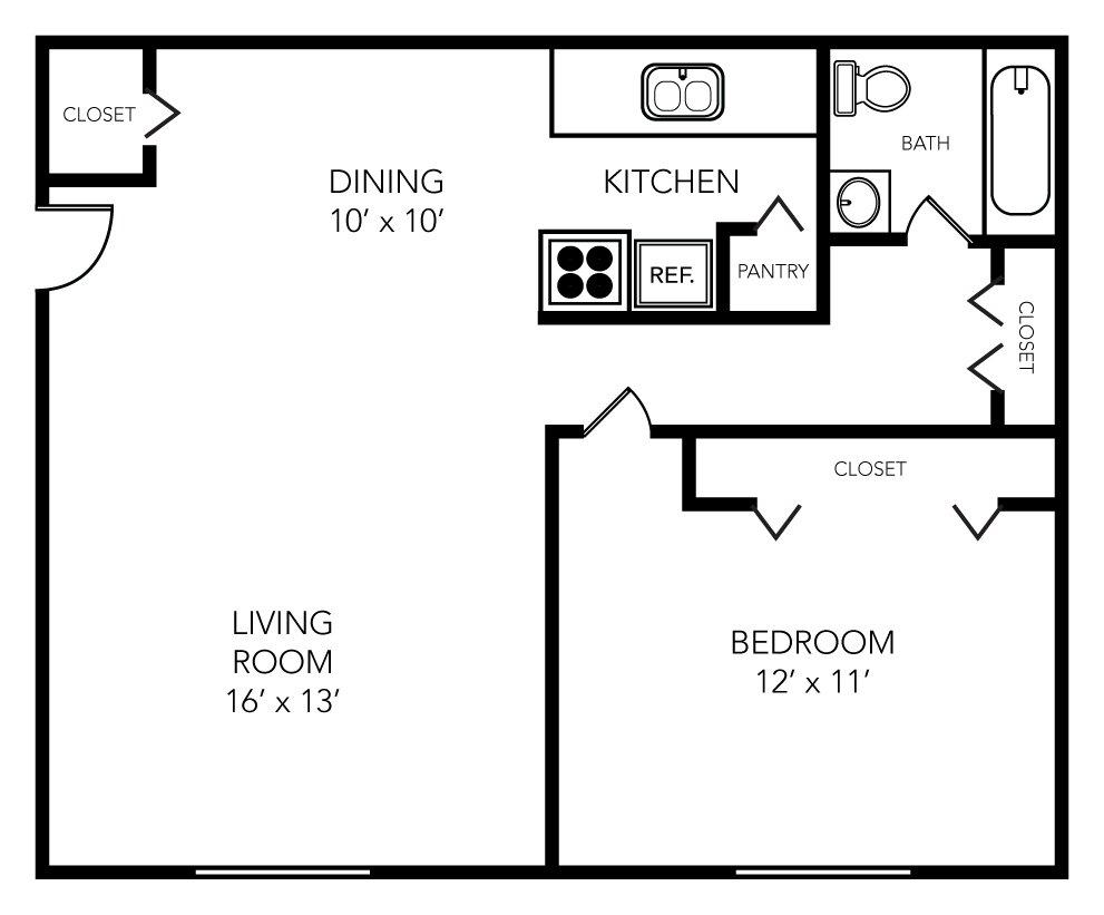 1 Bedroom 1 Bathroom Apartment for rent at Evergreen in Ann Arbor, MI