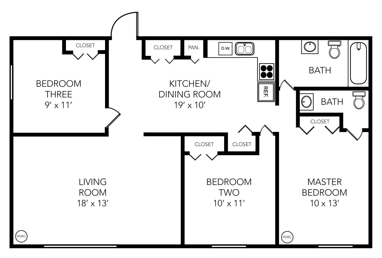3 Bedrooms 1 Bathroom Apartment for rent at Evergreen in Ann Arbor, MI
