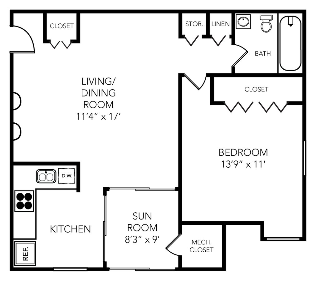 1 Bedroom 1 Bathroom Apartment for rent at Roundtree in Ypsilanti, MI