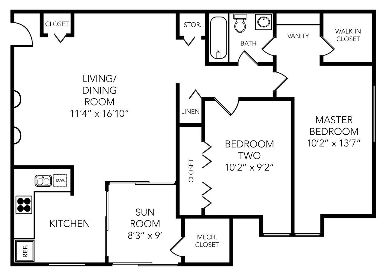 2 Bedrooms 1 Bathroom Apartment for rent at Roundtree in Ypsilanti, MI
